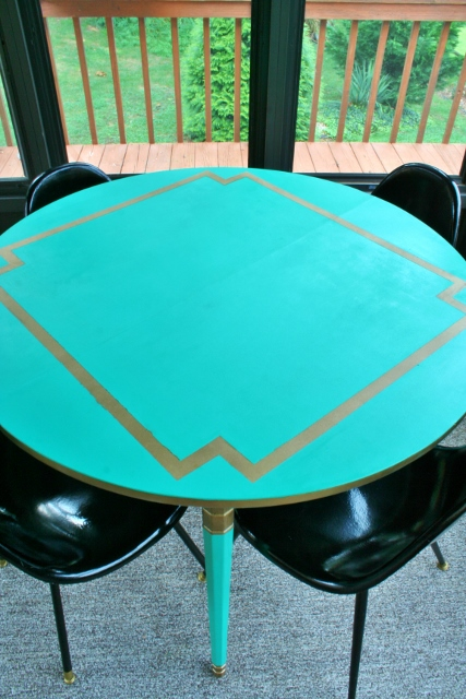 Painting a Laminate Dining Table Emerald and Gold. Dining Table Painted Gold. Home Design Ideas