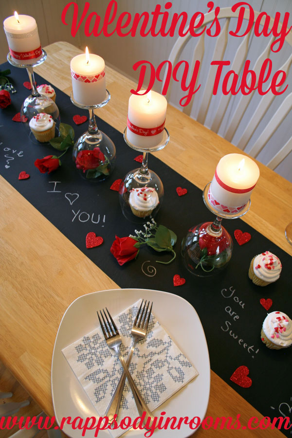 Valentine's Day DIY Dinner Tablescape - Rhapsody in Rooms