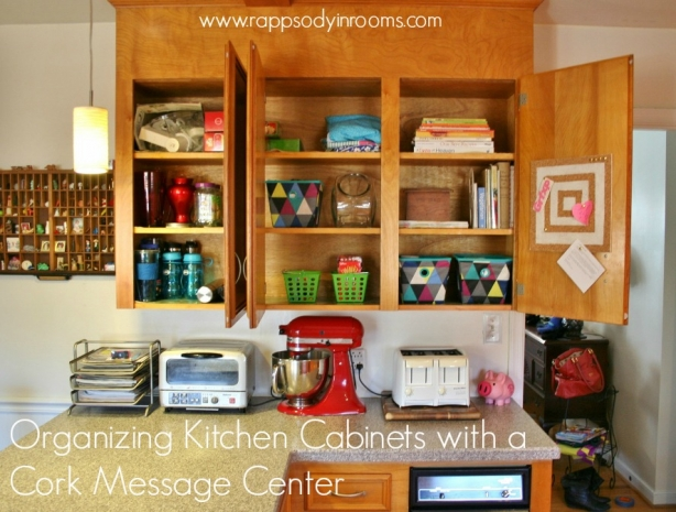 Organizing a Kitchen with Cork Message Center | www.rappsodyinrooms.com