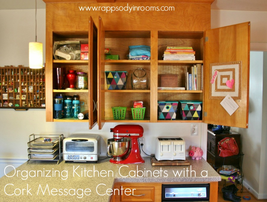 Organizing Kitchen Cabinets with a Cork Message Center