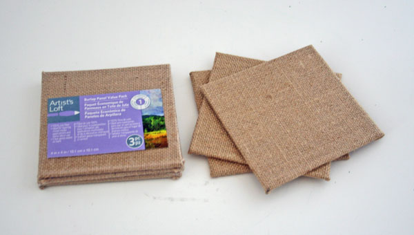 Burlap Wrapped Canvases Turned Coasters | www.rappsodyinrooms.com
