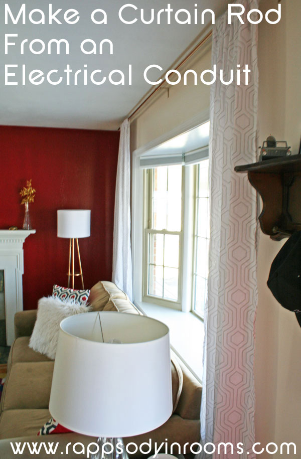 How to make a curtain rod from an electrical conduit | www.rappsodyinrooms.com