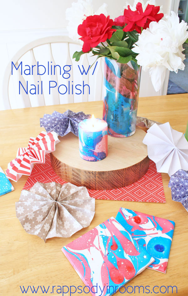 Marbling with Red, White, and Blue Nail Polish