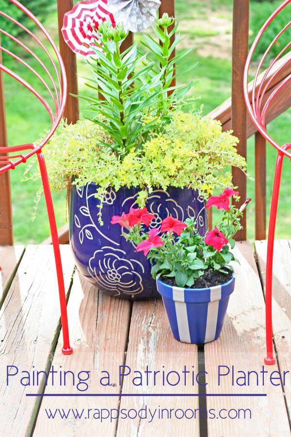 Painting a Patriotic Planter | www.rappsodyinrooms.com  #patriotic #redwhiteandblue #july4th #independenceday