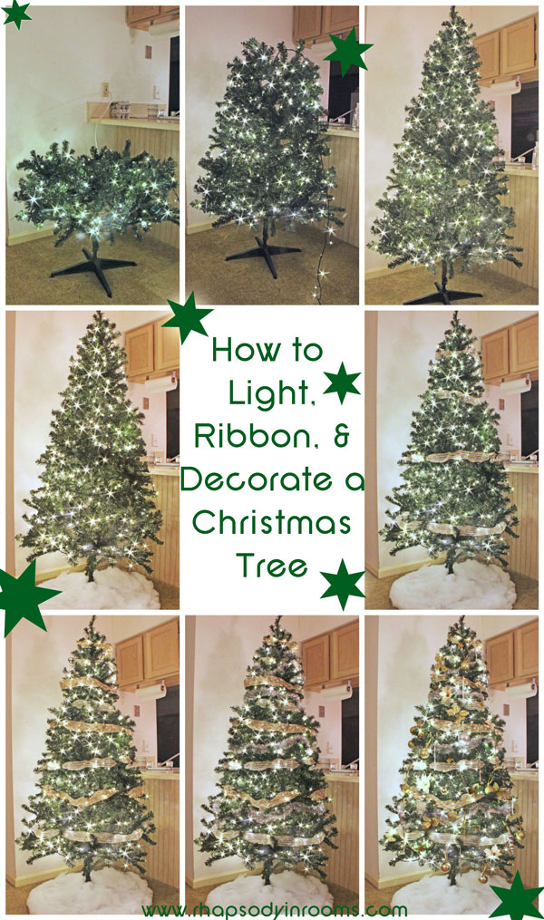 How to Light, Ribbon, and Decorate a Christmas Tree | www.rhapsodyinrooms.com