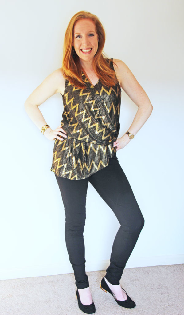 My March Stitch Fix Review with the Brandy Metallic Chevron Blouse by Skies are Blue | www.rhapsodyinrooms.com